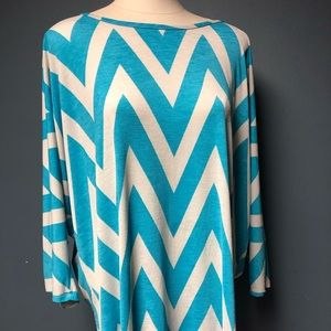 Auditions women's 2x  turquoise/white tunic